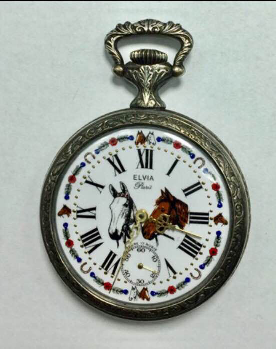 "Elvia Paris - Ancre 17 Rubis - ""Horses"" Pocket Watch - 20th century"