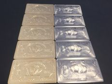 USA - 10 x 1 oz 999 Titanium Bars American Buffalo - 5 pieces with 24 karat gold plating