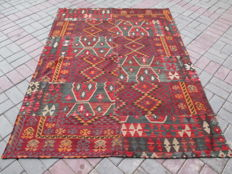HIGH QUALITY HAND WOVEN PATCH WORK WOOL KILIM RUG 149 x 203 CM