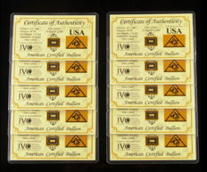 USA - American certified bullion - 10 x 1 grain 999 gold - in blister card with certificate