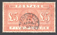 Great Britain 1882 – 5 pounds, orange, Stanley Gibbons 137