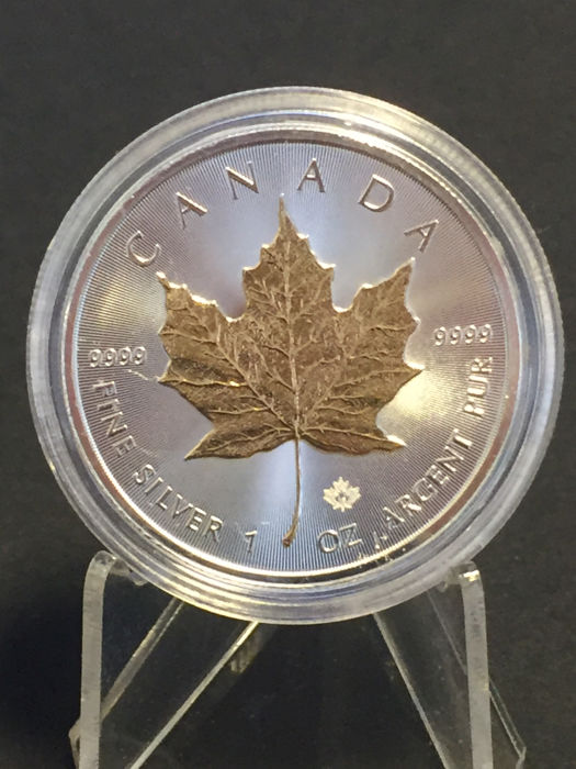 Canada - 5 CAD Maple Leaf 2016 - with 24-karat Gold Edition - 999.9 Silver