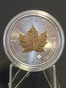 Canada - 5 CAD maple leaf 2017 - with 24 carat gold edition - 999.9 silver