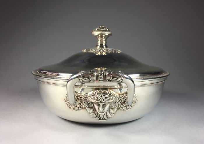 silver plated covered dish christofle malmaison possibly gallia france second half 20th. Black Bedroom Furniture Sets. Home Design Ideas