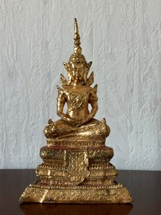 Laquer gilt bronze Rattanakosin Buddha - Thailand - mid-second half 20th century