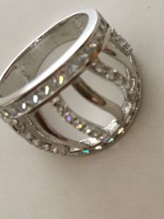 Large band ring in 18 kt white gold – Size 13