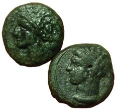 Greek Antiquity - Lot of two Æ - Zeugitania, Carthage, circa 400-350 BC - Uncertain mint - Head Tanit / Horse - SNG Cop 109-19