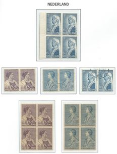 The Netherlands 1934/1939 – Selection various issues in blocks of four, in pairs and on letter