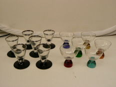 Bohemia - Two sets of six Art Deco shot glasses