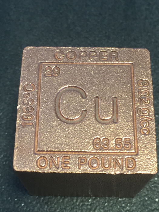 Usa 1 Pound 999 Copper Cube With Melting Point Atom Symbol
