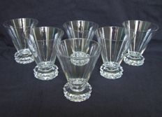 6 St Louis crystal white wine glasses, model Diamant