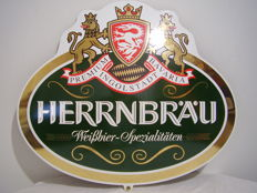 Enamel sign for 'Herrnbräu Weißbier Spezialitäten' - late 20th century.