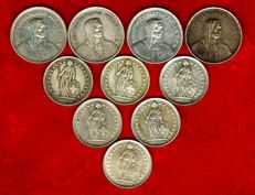 Switzerland – Collection composed of 10 silver coins: 4 coins of 5 francs and 6 coins of 2 francs. Period: 1940-1969 – 10 silver coins.