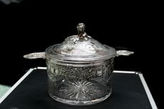 Crystal pot with solid silver, France, from 1838