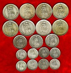 Switzerland – Collection composed of 19 silver coins: 8 coins of 2 francs, 3 coins of 1 franc and 8 coins of 1/2 franc. Period: 1934-1964 (19).