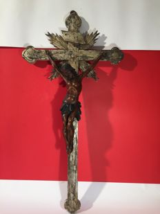 Wooden sculpture boxwood crucifix - Sicily, Italy - 19th century