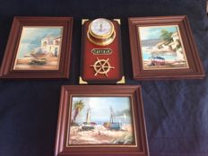 Captain Barometer and three paintings in oil on canvas