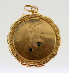 Chinese 14k yellow gold locket pendant with emerald (0.06 ct total) ca. 1930