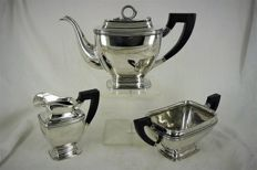 Silver tea set with a snake as knob and wooden handles, D.J. Aubert & Zn, The Hague/Voorburg, 1958-present