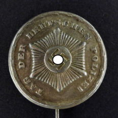"Conference badge on pin ""police day"", rare"