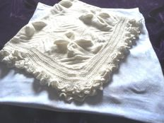 Two beautiful old cloths 1x wool, intricately knitted by hand; 1x Art Deco woven cotton, first half of the 20th century