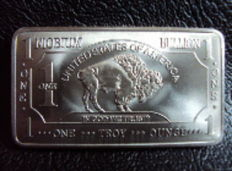 USA - 1 oz of 999 niobium - Nb - American buffalo bar - rare earth metals