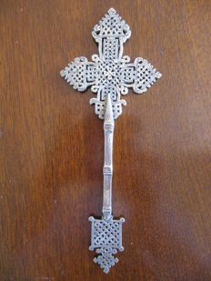 Unique Ethiopian hand cross, open-work silver or silver-plated, probably 19th century