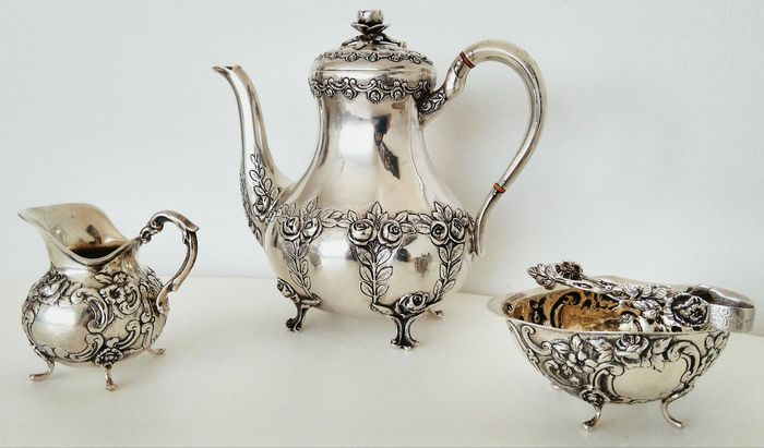 Silver Tea Set. -Wilhelm Ludwig, Germany, 1900s