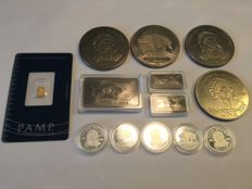 Lot with Pamp Suisse 999 gold bars - United States 99 silver coins - United States 999 niobium / niobium - United States 999 titanium / titanium bar American Buffalo - rare earth
