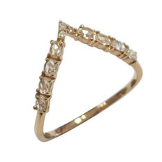 Rose gold ring with diamonds, 0.22 ct –size 14