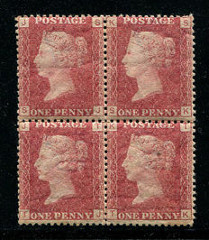 Great Britain Queen Victoria 1864/79 – 1 penny rose-red – Stanley Gibbons 43 plate 143 block of four
