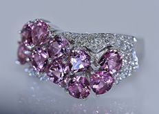 Pink pears Tourmalines with Diamonds band ring - No reserve price!