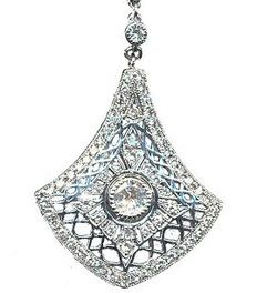 18K white gold and diamond Art Deco pendant, total of. 1.03 ct. incl. Gemological Certificate