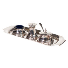 Silver Condiment set - Birmingham - with hallmarks for 1957 1959 and 1961