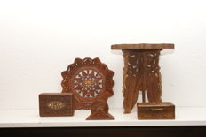Beautiful hand carved wood carvings India with inlay (side table/jewellery boxes/coasters/wall plate)