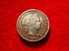 Spain – Isabel II (1833 – 1868), 1 real silver coin. Seville – 1863.