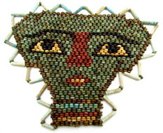 Egyptian Beaded Mummy Face Mask - 120 x 98 mm