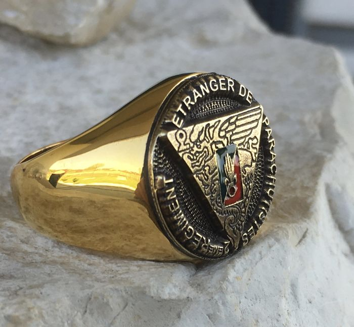 23 Grams massive French Foreign Legion Etrangere 2nd Rep Parachute Ring Hypoallergenic Surgical Steel 316L + 24kt Gold Plated