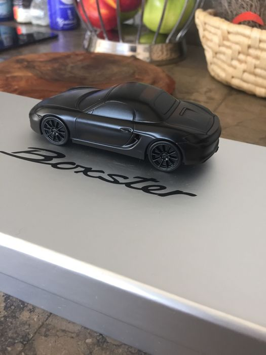 Porsche Boxster - Solid aluminium paperweight - Black matte limited edition - Scale 1/43