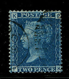 Great Britain, Queen Victoria 1858/1876 – twopence, blue – Stanley Gibbons 45, Plate 12.