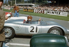 Porsche 718 RSK 1958 Goodwood motor circuit Behra colour photograph.