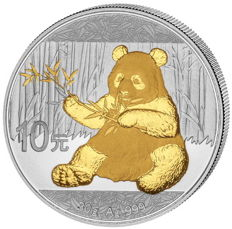 China - 1 x 10 Yuan - China Panda 2017 - 999 silver with 24 carat gold finish