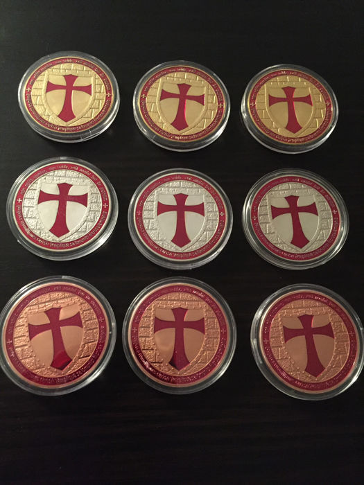 USA - 9 pieces of 1 oz 999 copper - Knights Templar / Crusader - soldiers of Christ - 3 x 999 copper 3 x 999 silver edition 3 x 999 gold edition - colour edition