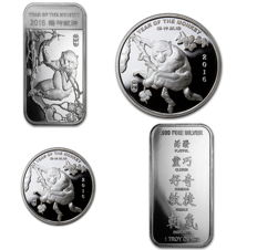 2 silver bars + 2 silver coins - 999 fine silver - Lunar Year of the Monkey 2016 - AG coins silver coins