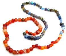 Viking Necklace with Coloured Glass Beads - 780 mm