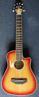 Motion Honeyburst Traveller guitar, electro-acoustic with equaliser and built-in tuner