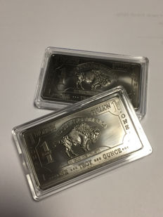 USA - 2 x 1 oz 999 Niob - Nb - Niobium - American Buffalo Bar - rare earth metals