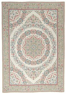 Authentic, 100% original HAND-made and lined Indian carpet (Size: 223 x 153 cm) (from 1970-1980) With certificate of authenticity from official appraiser –(Galleria farah1970) 94576