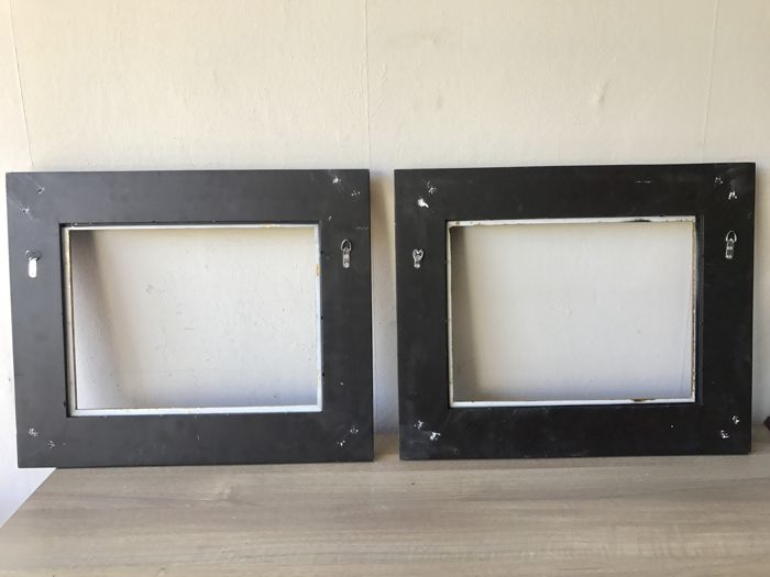 Two large gold-plated picture frames - inside measurements are 40.5 ...