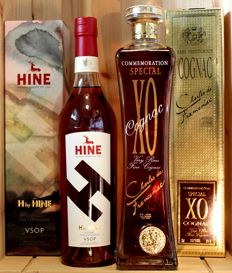2 bottles of Cognac: 1. Charles de Franceniac XO Cognac, 20-25 years old, boxed + 2. H by HINE VSOP incl. limited original box